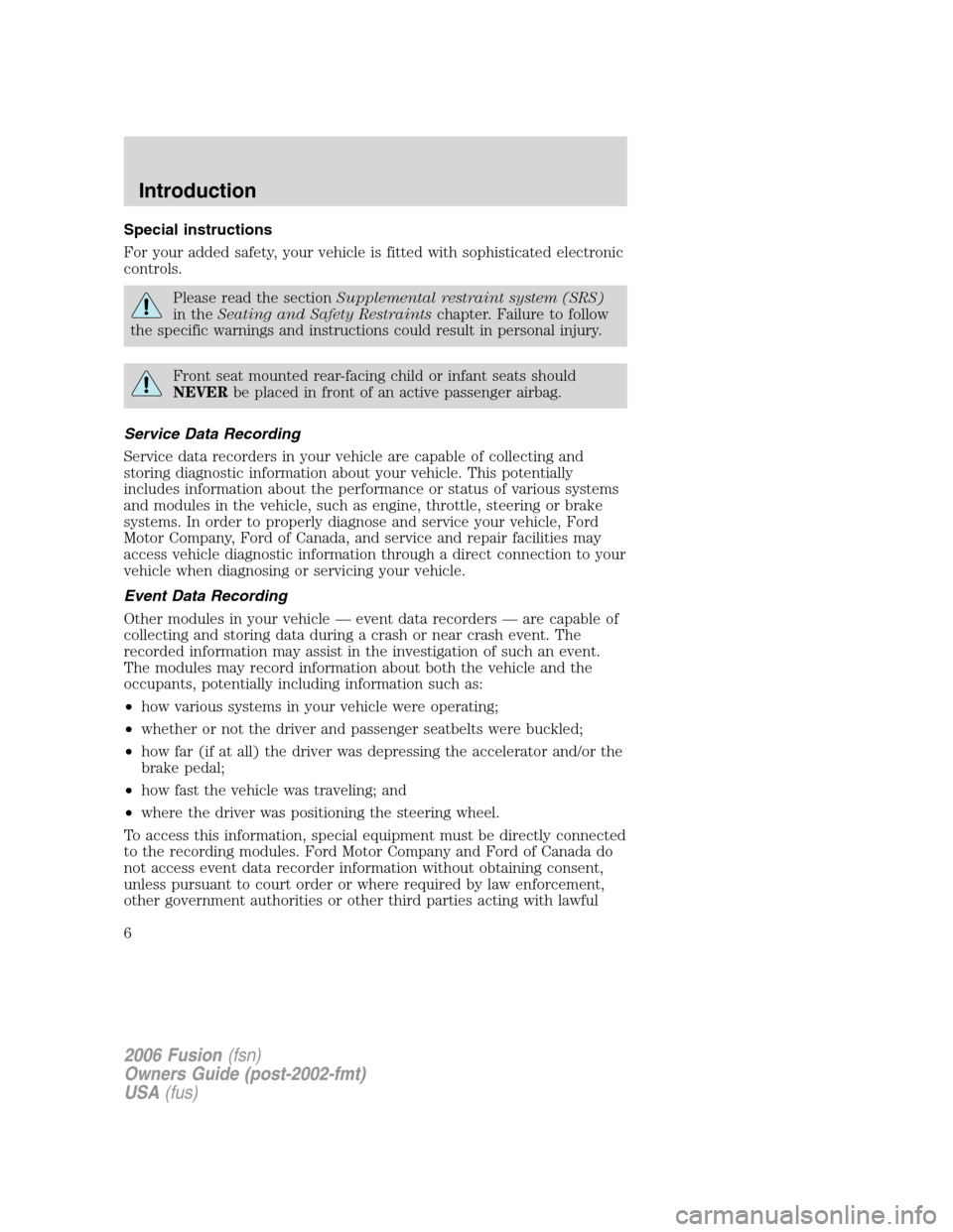 FORD FUSION (AMERICAS) 2006 1.G Owners Manual, Page 6