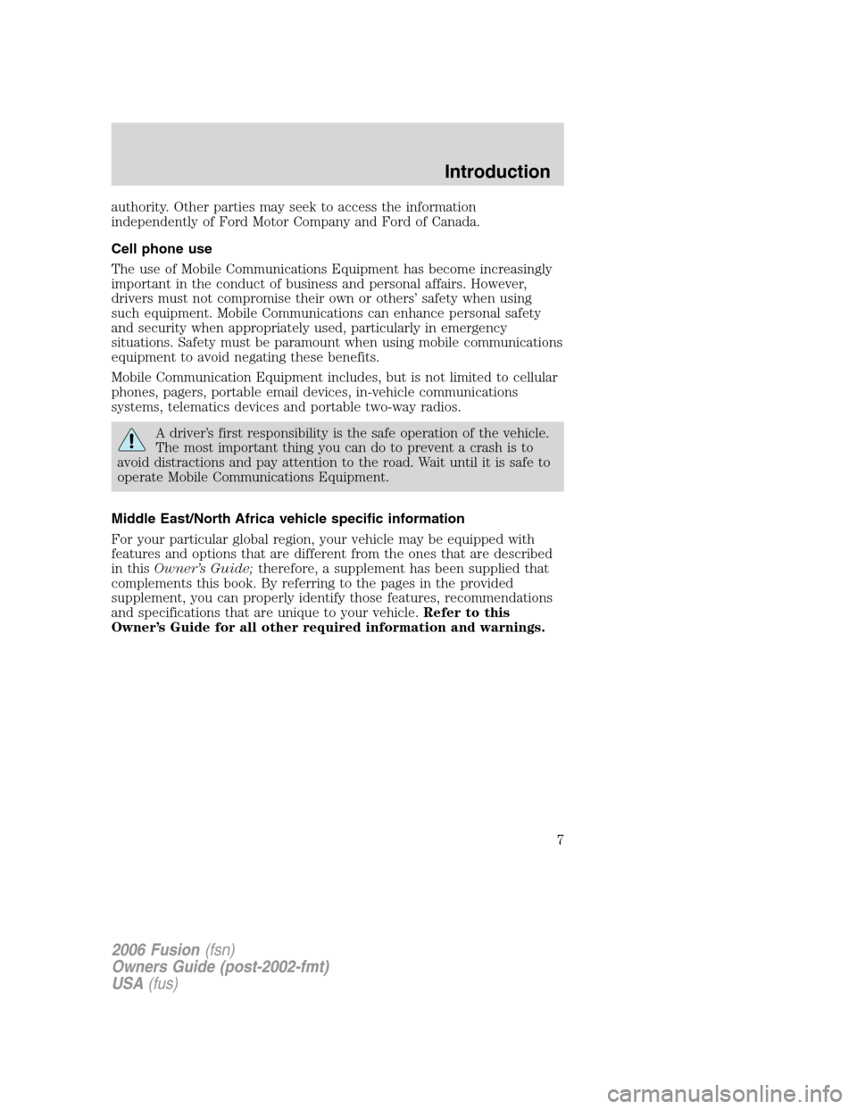 FORD FUSION (AMERICAS) 2006 1.G Owners Manual, Page 7