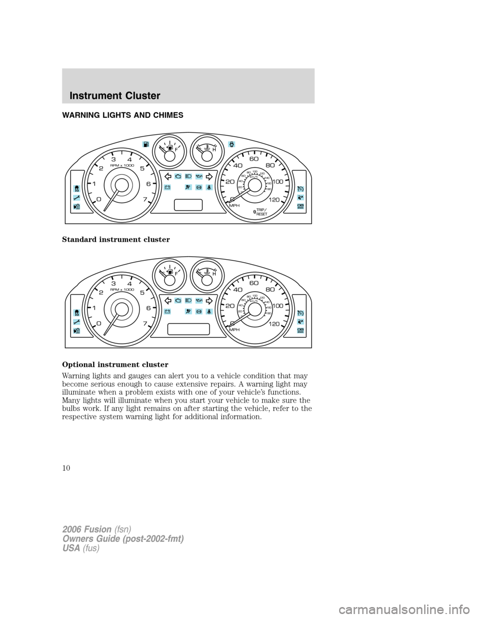 FORD FUSION (AMERICAS) 2006 1.G Owners Manual, Page 10