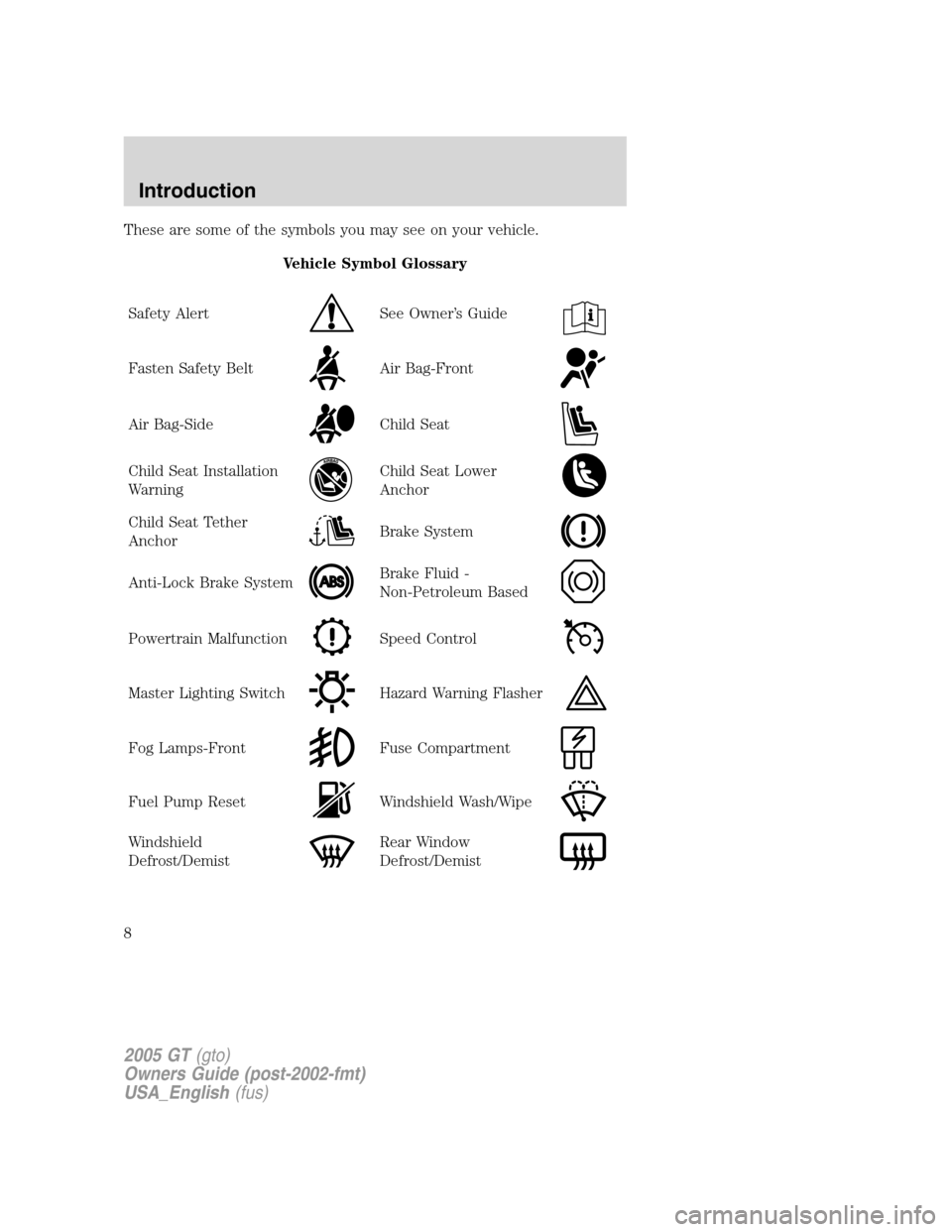 FORD GT 2005 1.G Owners Manual  These are some of the symbols you may see on your vehicle.Vehicle Symbol Glossary Safety Alert See Owner 's Guide Fasten Safety BeltAir Bag-Front Air Bag-SideChild Seat Child Seat Installation Warn