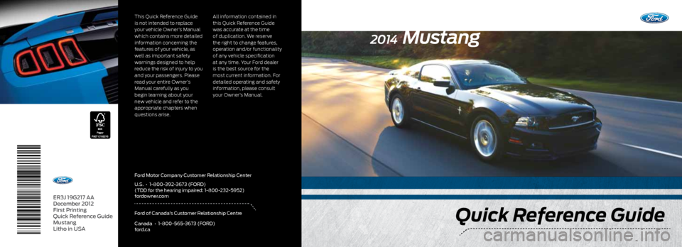 FORD MUSTANG 2014 5.G Quick Reference Guide, Page 1