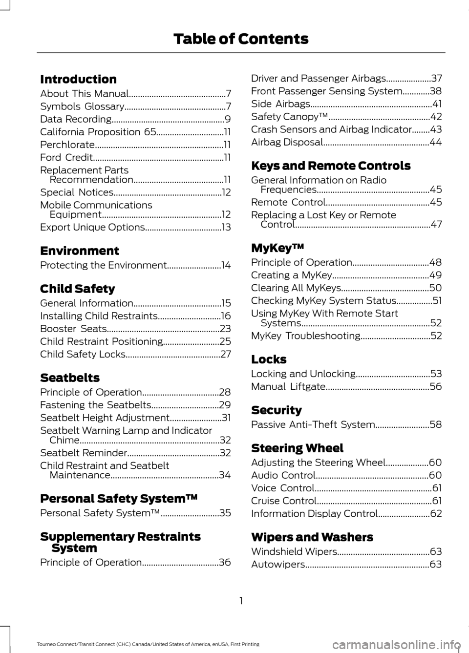 ford transit connect   owners manual