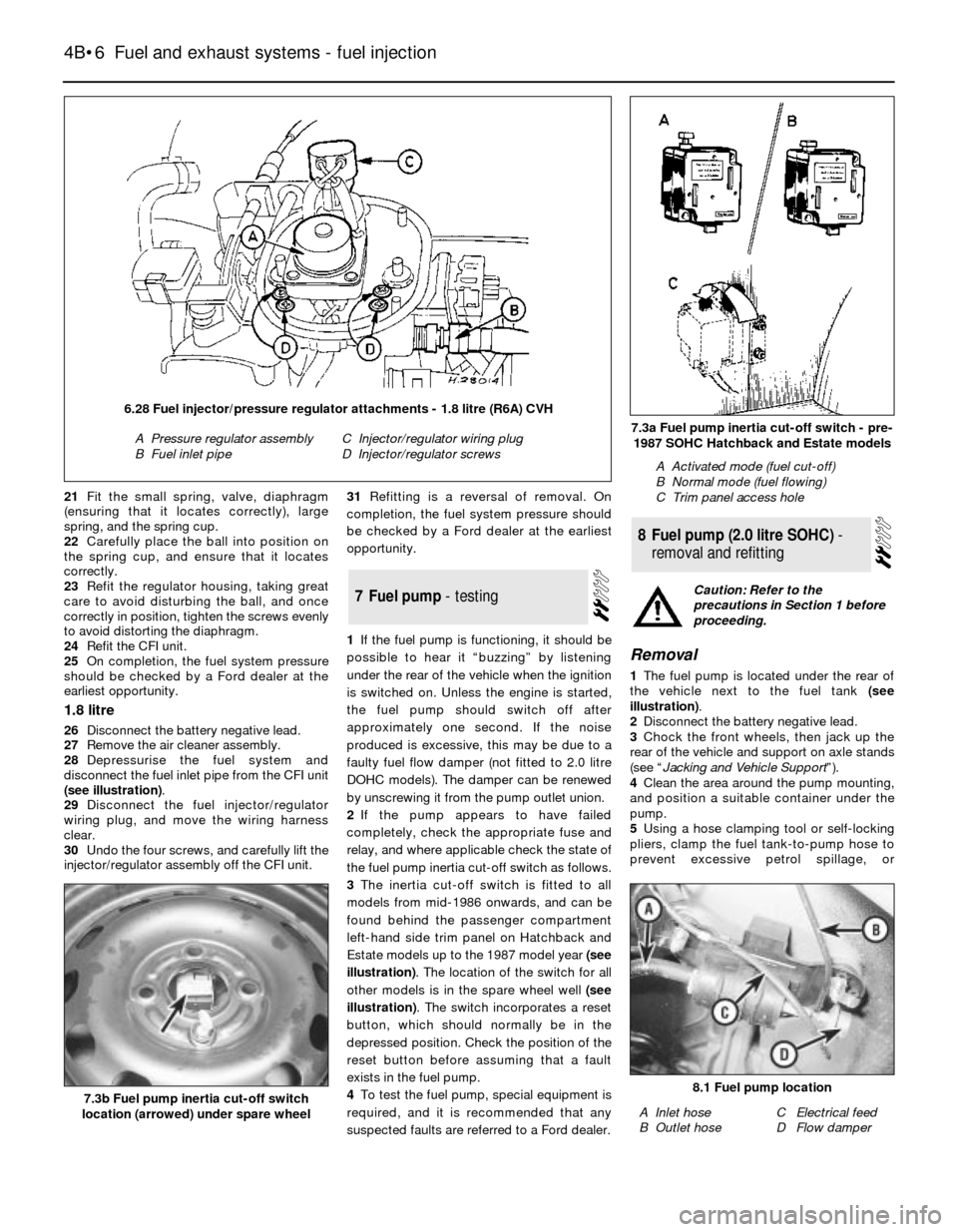 FORD SIERRA 1993 2.G Fuel And Exhaust Systems Fuel Injection Workshop Manual, Page 6