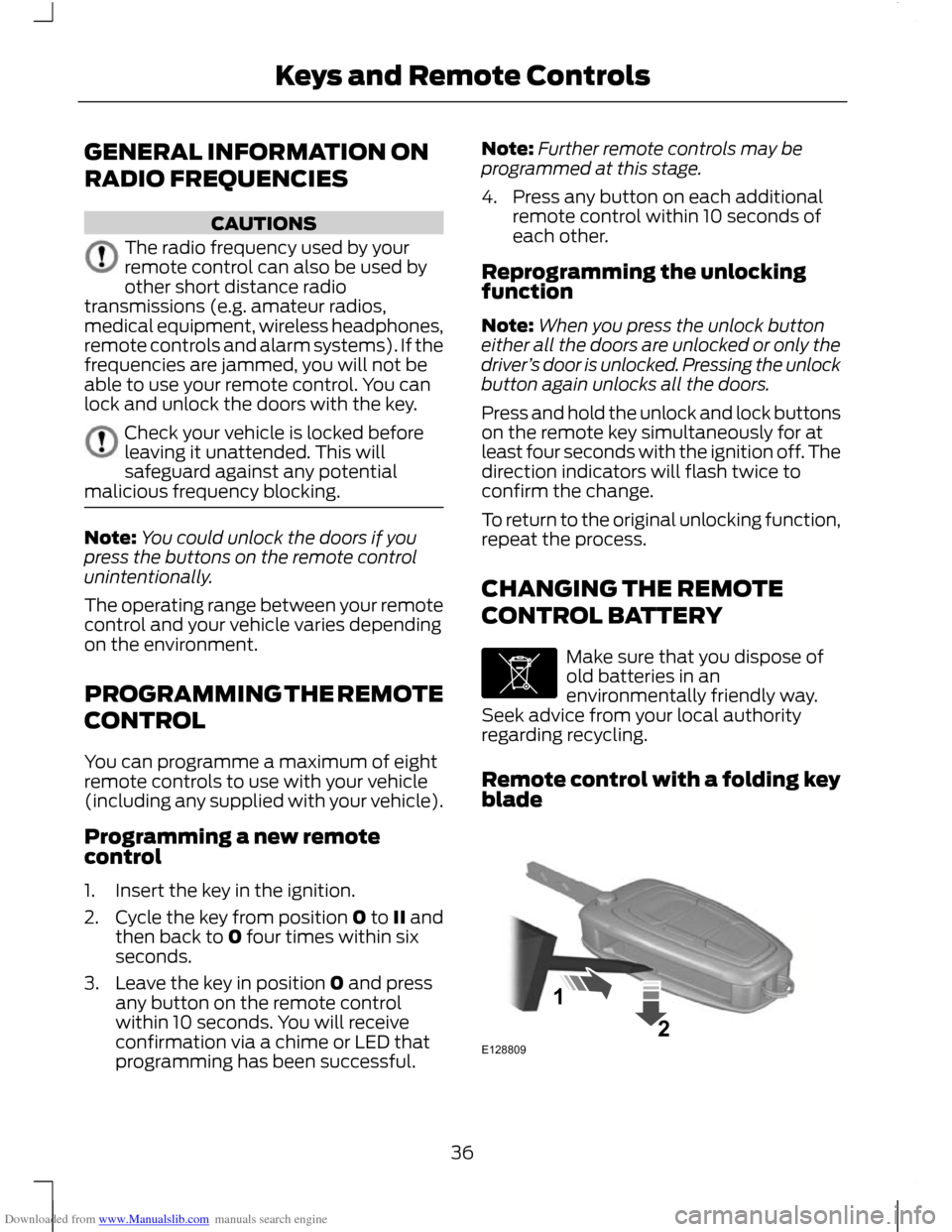 Ford c max 2011 2 g owners manual page 38