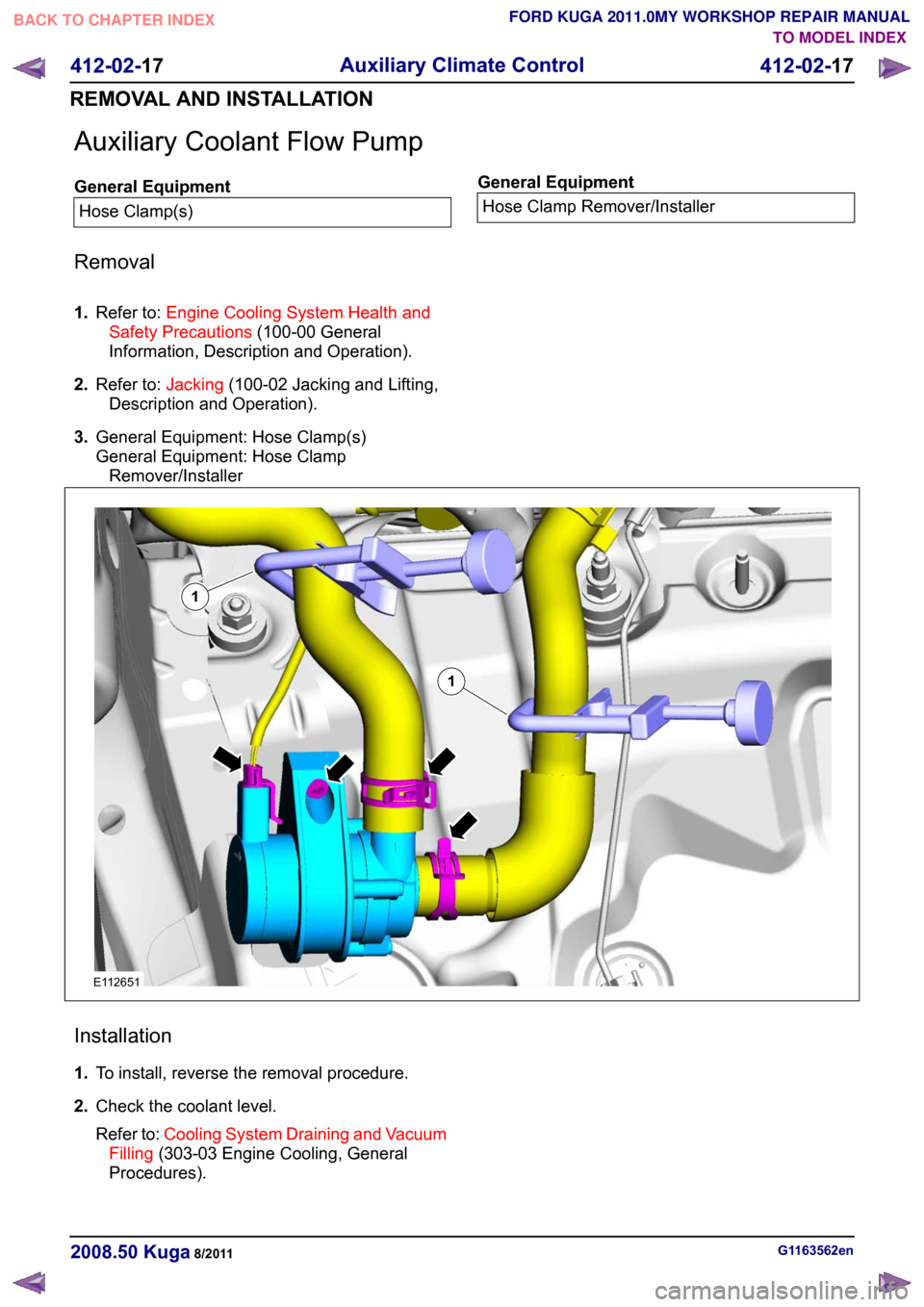 Engine Coolant Ford Kuga 2011 1g Workshop Manual Cooling Diagram Page 170 Auxiliary Flow Pump
