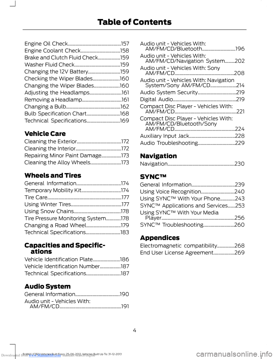 FORD B MAX 2013 1.G Owners Manual, Page 6