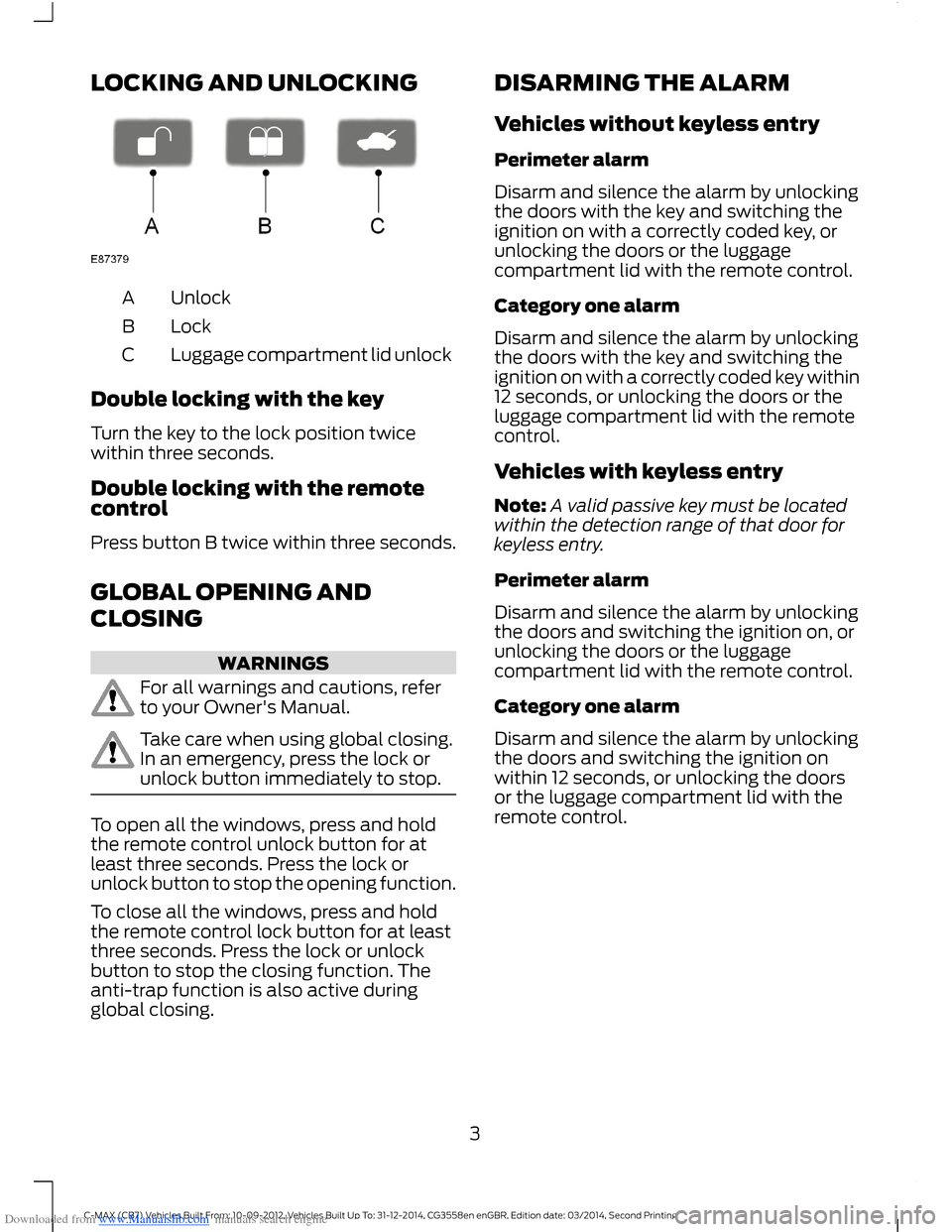 FORD C MAX 2014 2.G Quick Reference Guide, Page 5