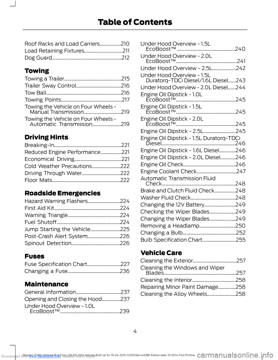 FORD MONDEO 2014 4.G Owners Manual, Page 6