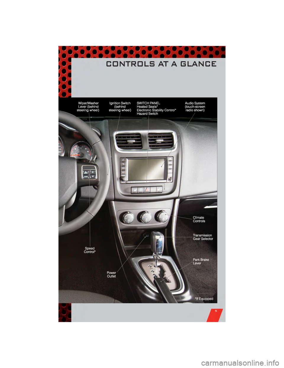 DODGE AVENGER 2011 2.G User Guide CONTROLS AT A GLANCE 5