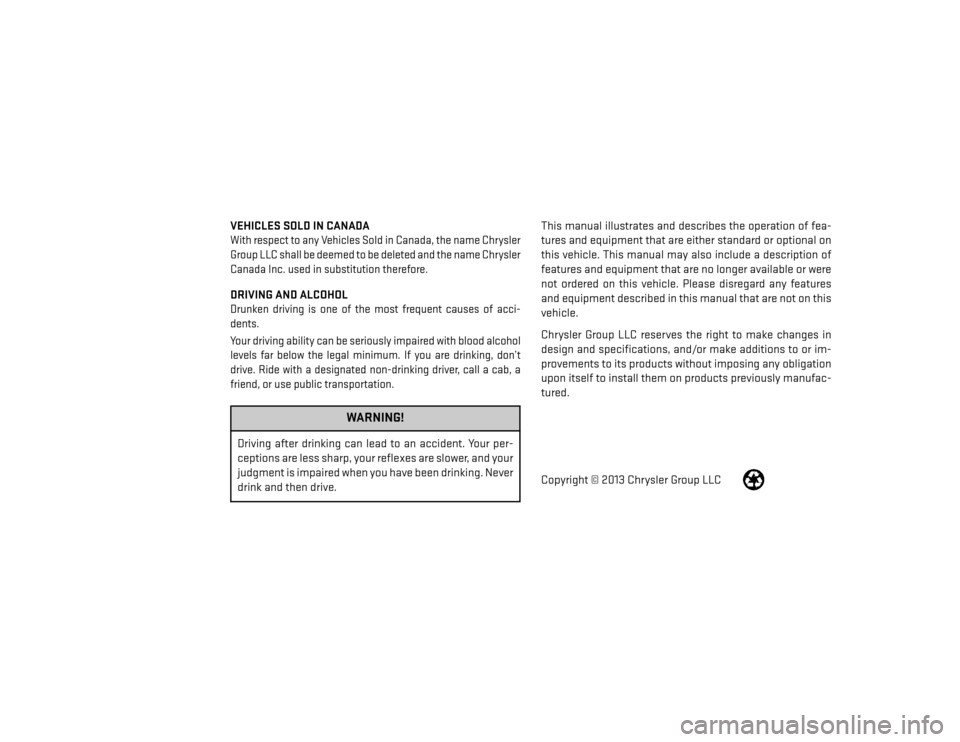 DODGE AVENGER 2014 2.G Owners Manual, Page 2