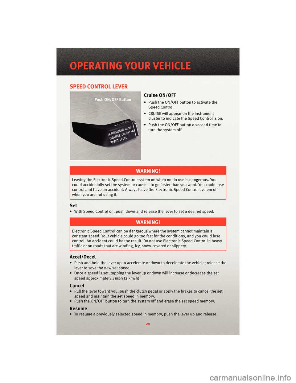 DODGE CALIBER 2010 1.G Owners Manual, Page 22