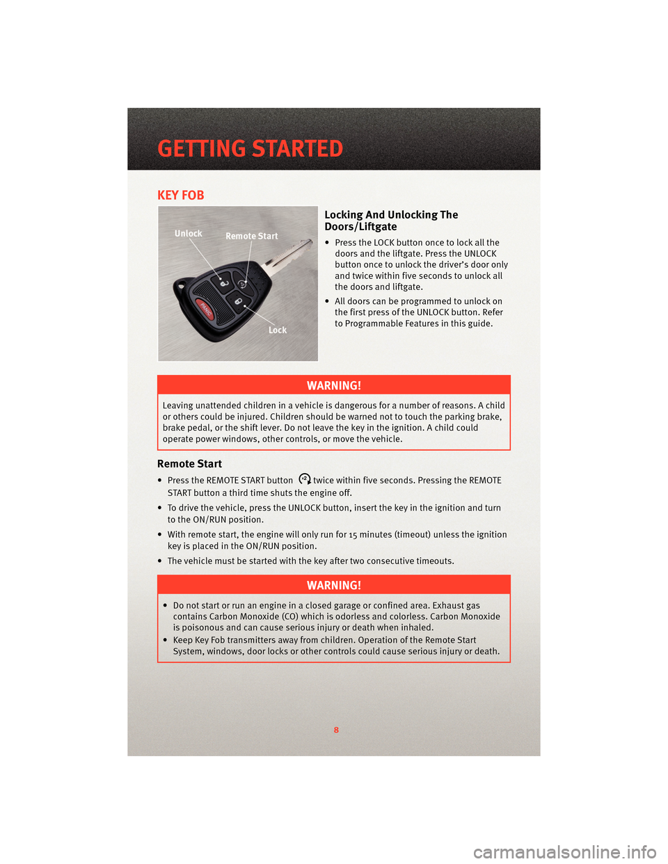 Dodge Nitro 2010 1g User Guide Power Windows To Be Operated Only When The Key Is On And For Page 10 Fob
