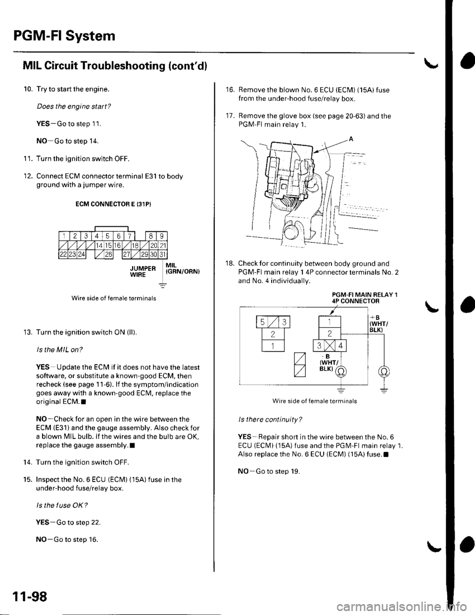 Bulb Honda Civic 2002 7g Workshop Manual Under Hood Fuse Relay Box Page 305