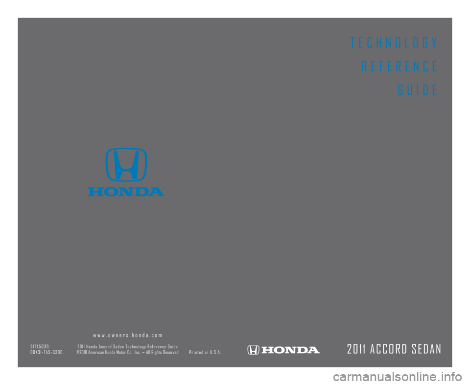 HONDA ACCORD SEDAN 2011 8.G Technology Reference Guide, Page 1