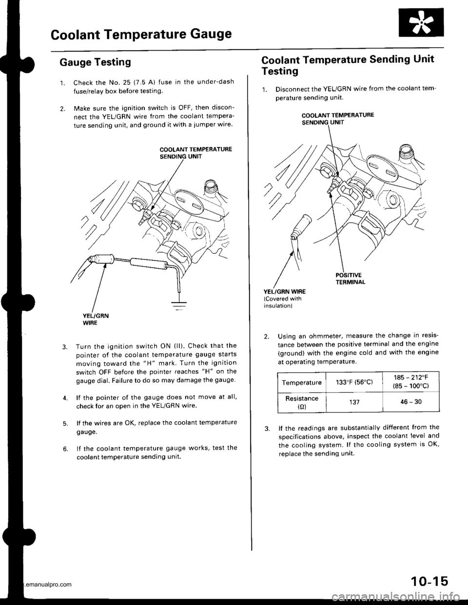 Engine Coolant Honda Cr V 1998 Rd1 Rd3 1g Workshop Manual Change Page