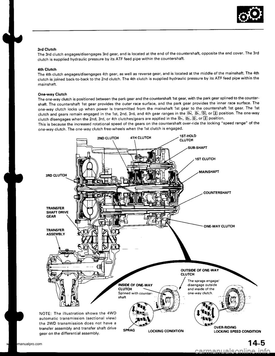Honda Cr V 1998 Rd1 Rd3 1g Workshop Manual Crv Clutch Diagram