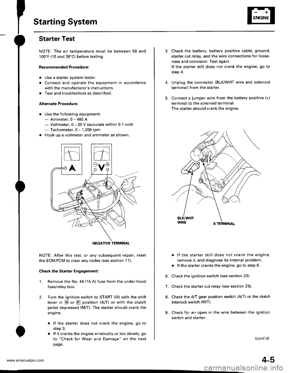 HONDA CR-V 1999 RD1-RD3 / 1.G Workshop Manual, Page