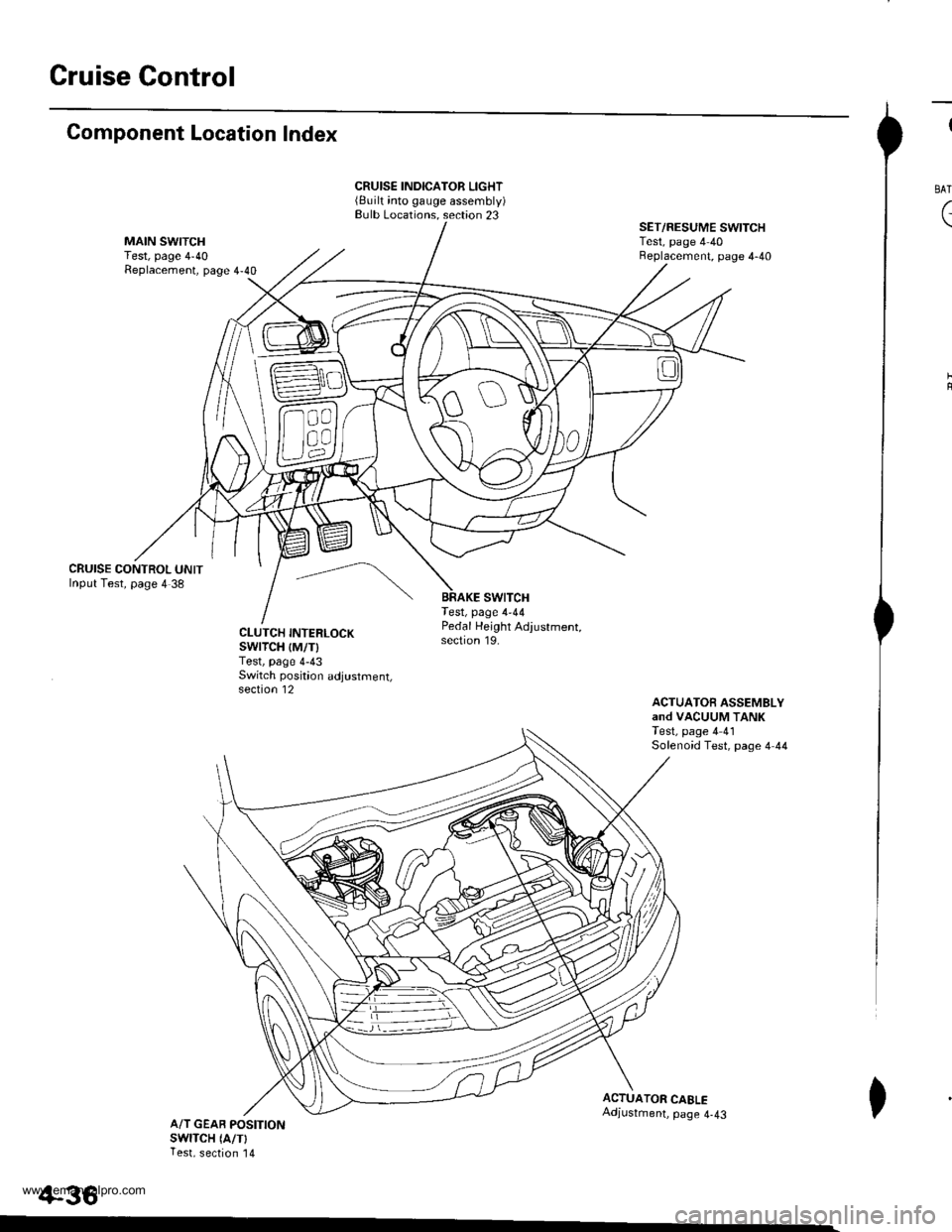 HONDA CR-V 1998 RD1-RD3 / 1.G Workshop Manual  Gruise Control Component Location Index CRUISE CONTROL UNITInput Test, page 4 38 CRUISE INDICATOR LIGHT(Built into gauge assembly)Bulb Locations. section 23 swtTcHTest, page 4-44 SET/RESUME SWITCHTes