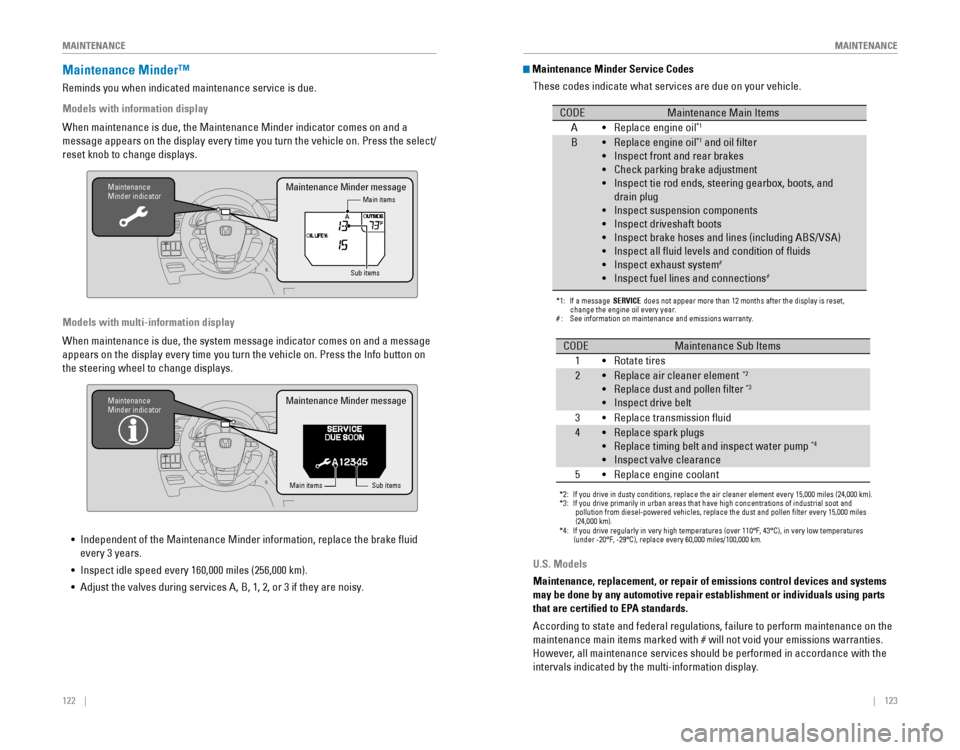 HONDA ODYSSEY 2015 RC1 RC2 / 5.G Quick Guide, Page 65