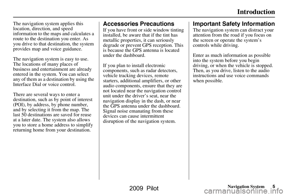 HONDA PILOT 2009 2.G Navigation Manual, Page 5