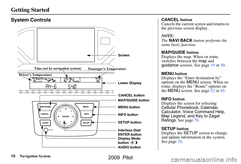 HONDA PILOT 2009 2.G Navigation Manual, Page 10