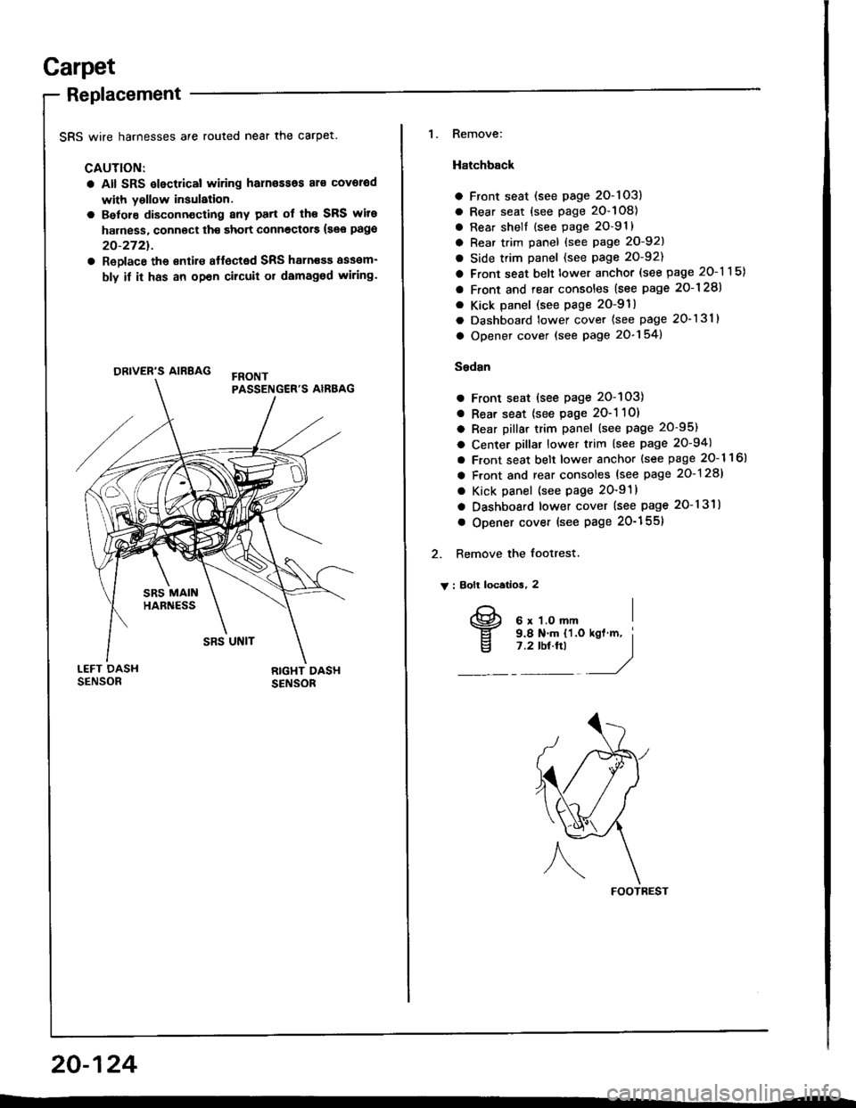 Honda Integra 1994 4g Workshop Manual 94 Wiring Harness Page 993 Garpet Replacement Srs Wire Harnesses