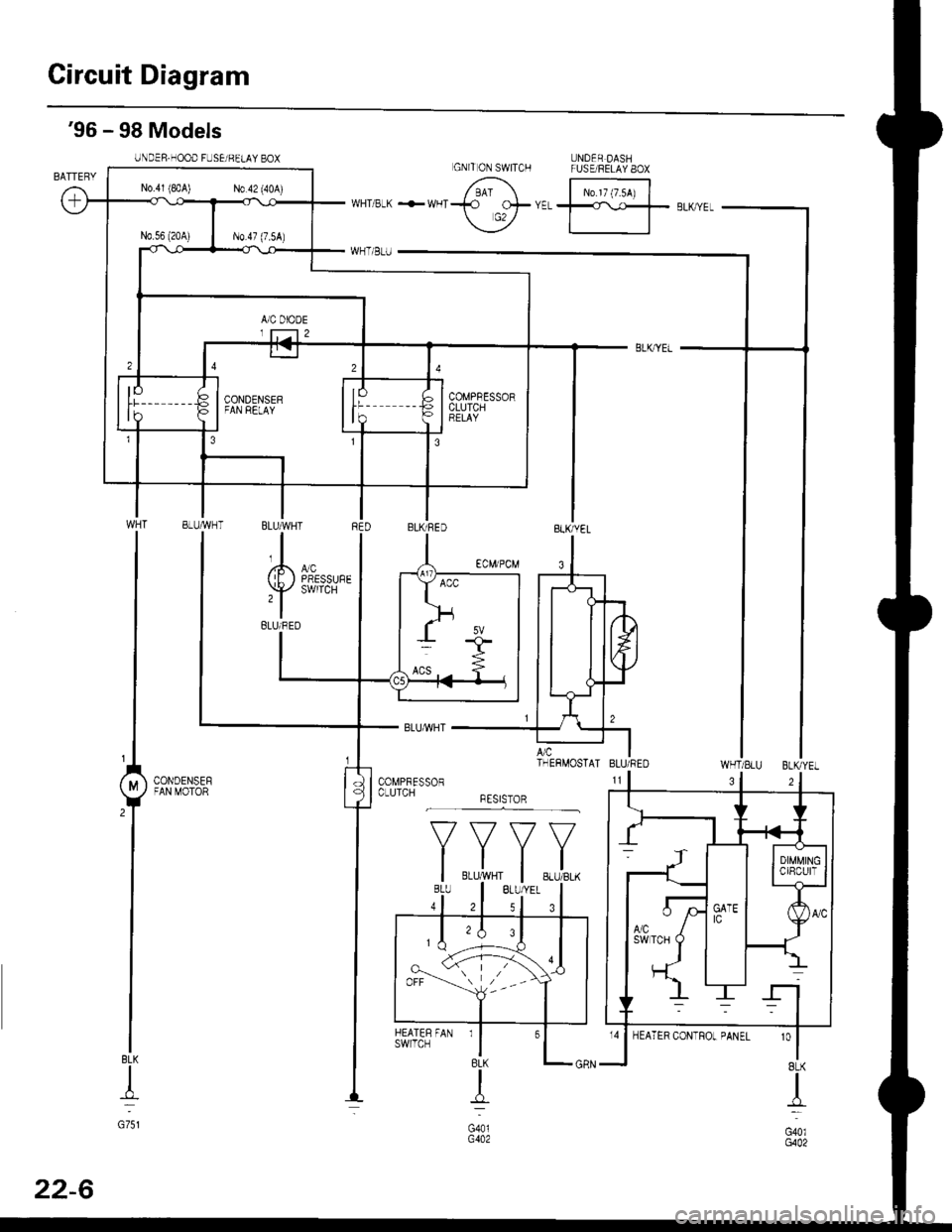 Honda Civic 1999 6g Workshop Manual Under Hood Fuse Relay Box Page 1430 Circuit Diagram Dashfuse 8ox