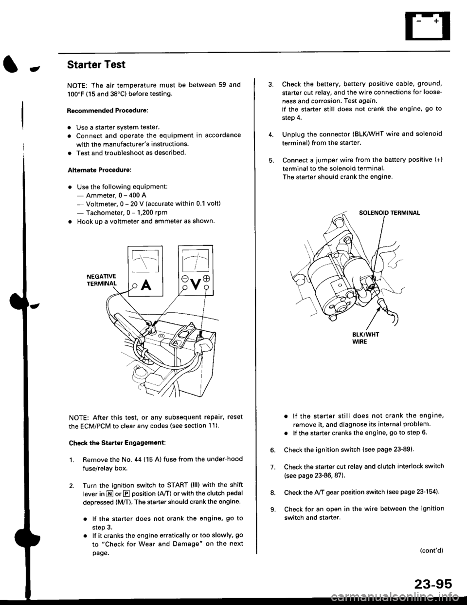 Engine Honda Civic 1997 6g Workshop Manual Under Hood Fuse Relay Box Page 1565
