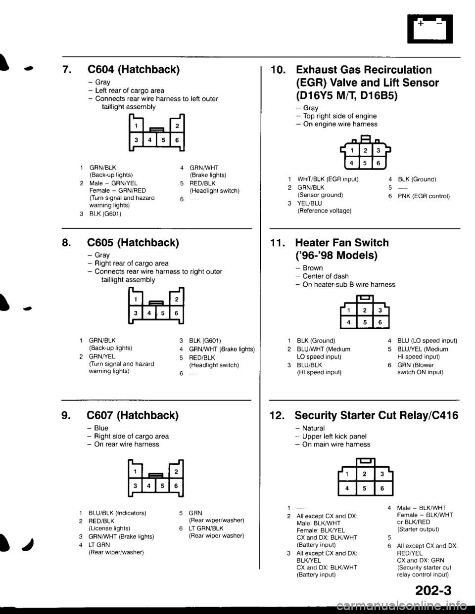 Engine Honda Civic 1998 6g Workshop Manual Egr Valve Wire Harness Page 2110