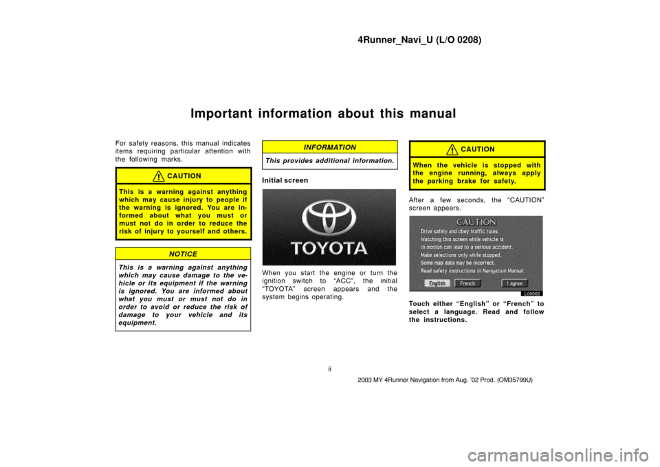 TOYOTA 4RUNNER 2003 N210 / 4.G Navigation Manual, Page 2