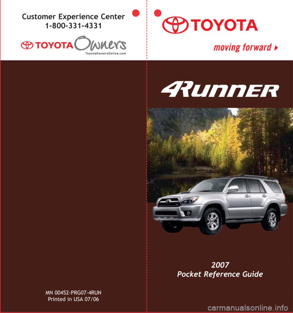 TOYOTA 4RUNNER 2007 N210 / 4.G Quick Reference Guide, Page 1