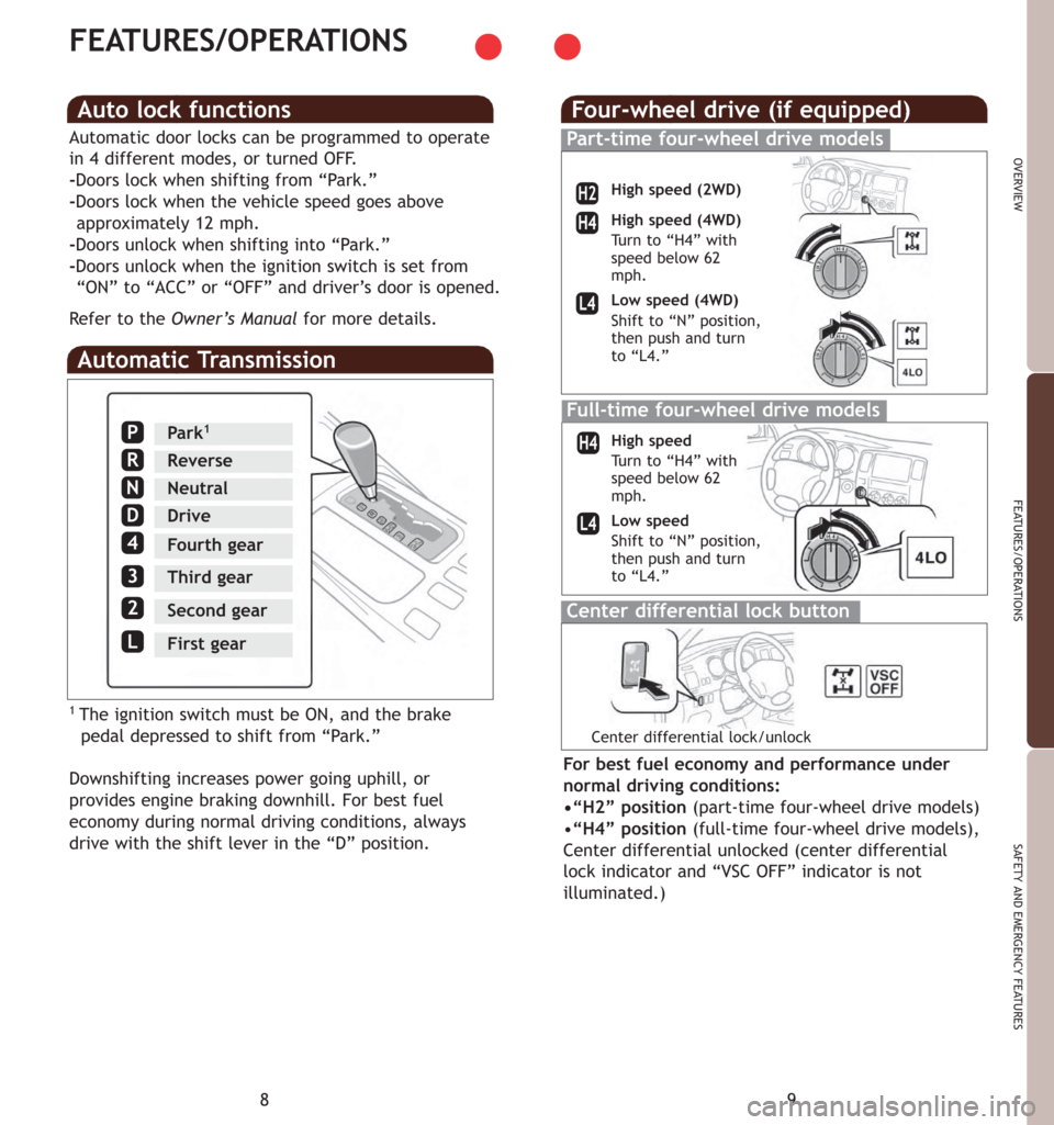 TOYOTA 4RUNNER 2007 N210 / 4.G Quick Reference Guide, Page 7