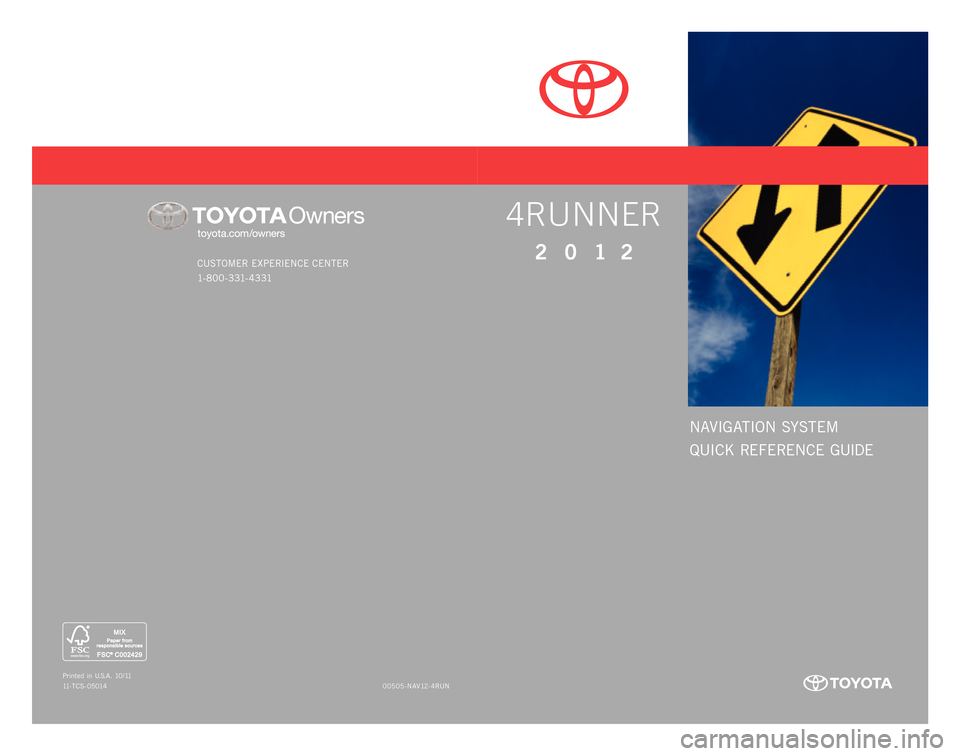 TOYOTA 4RUNNER 2012 N280 / 5.G Navigation Manual, Page 1