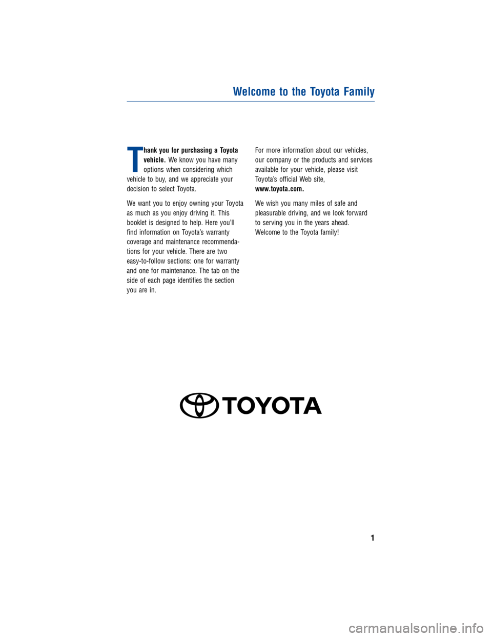 TOYOTA AVALON 2012 XX40 / 4.G Warranty And Maintenance Guide, Page 1