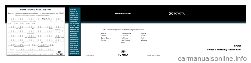 TOYOTA CAMRY 2008 XV40 / 8.G Warranty And Maintenance Guide, Page 1