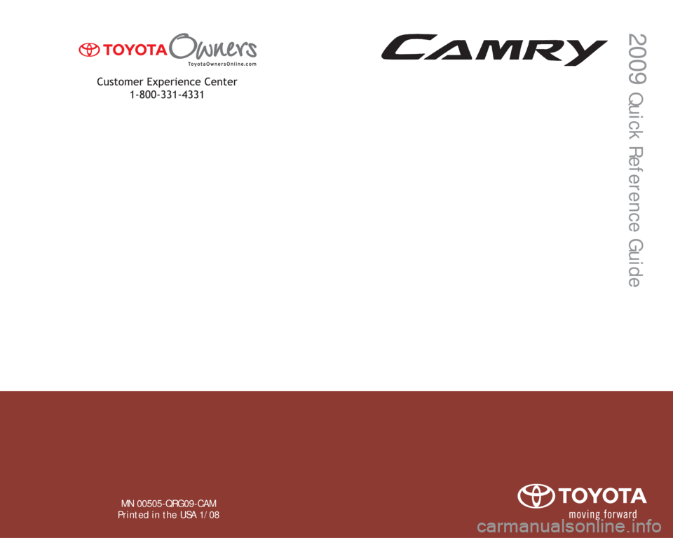TOYOTA CAMRY 2009 XV40 / 8.G Quick Reference Guide, Page 1
