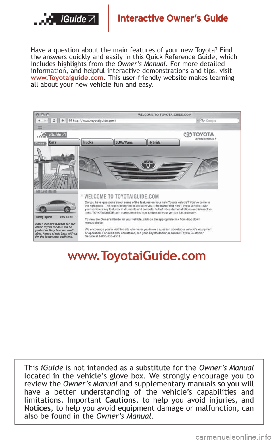 toyota camry hybrid 2008 xv40 8 g quick reference guide. Black Bedroom Furniture Sets. Home Design Ideas