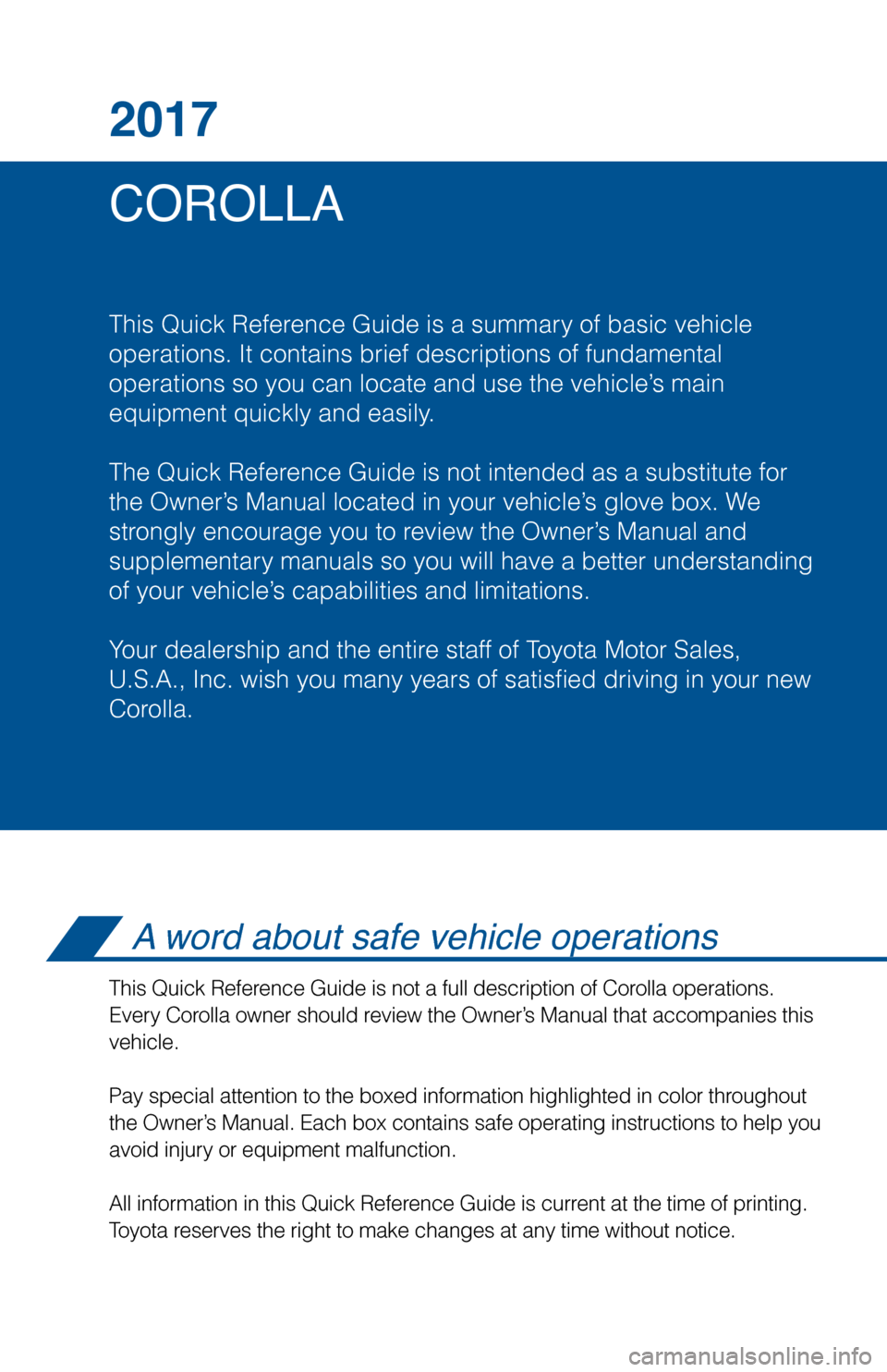 TOYOTA COROLLA 2017 11.G Quick Reference Guide, Page 2
