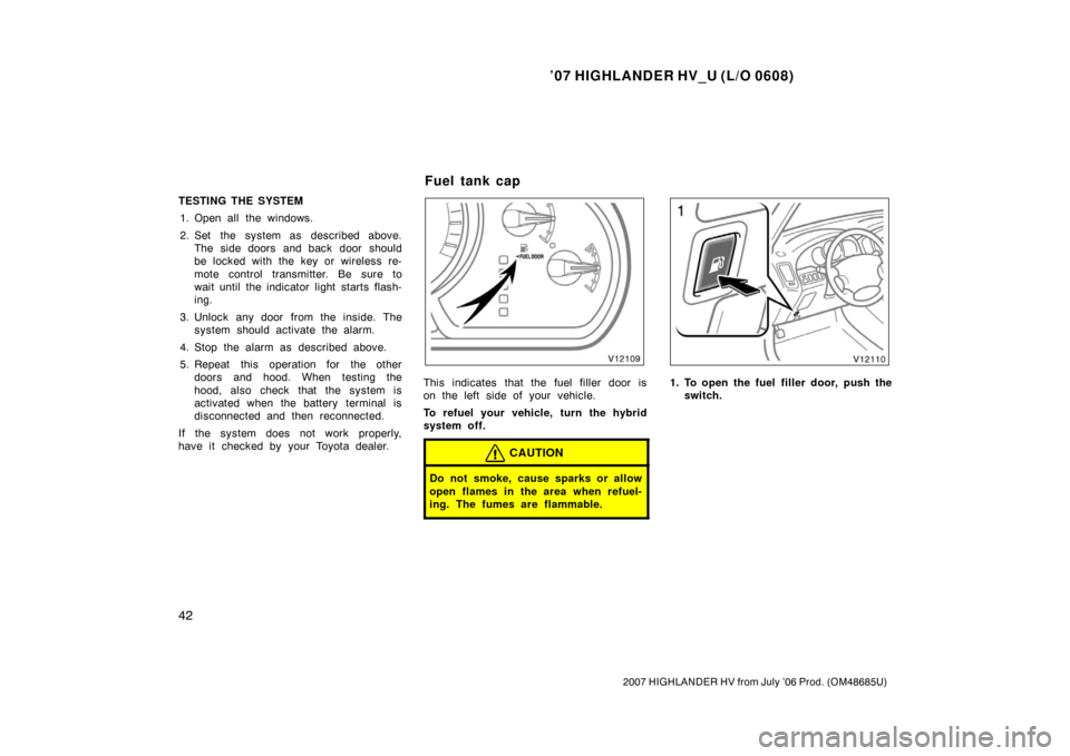 TOYOTA HIGHLANDER HYBRID 2007 XU40 / 2.G Owners Manual, Page 54