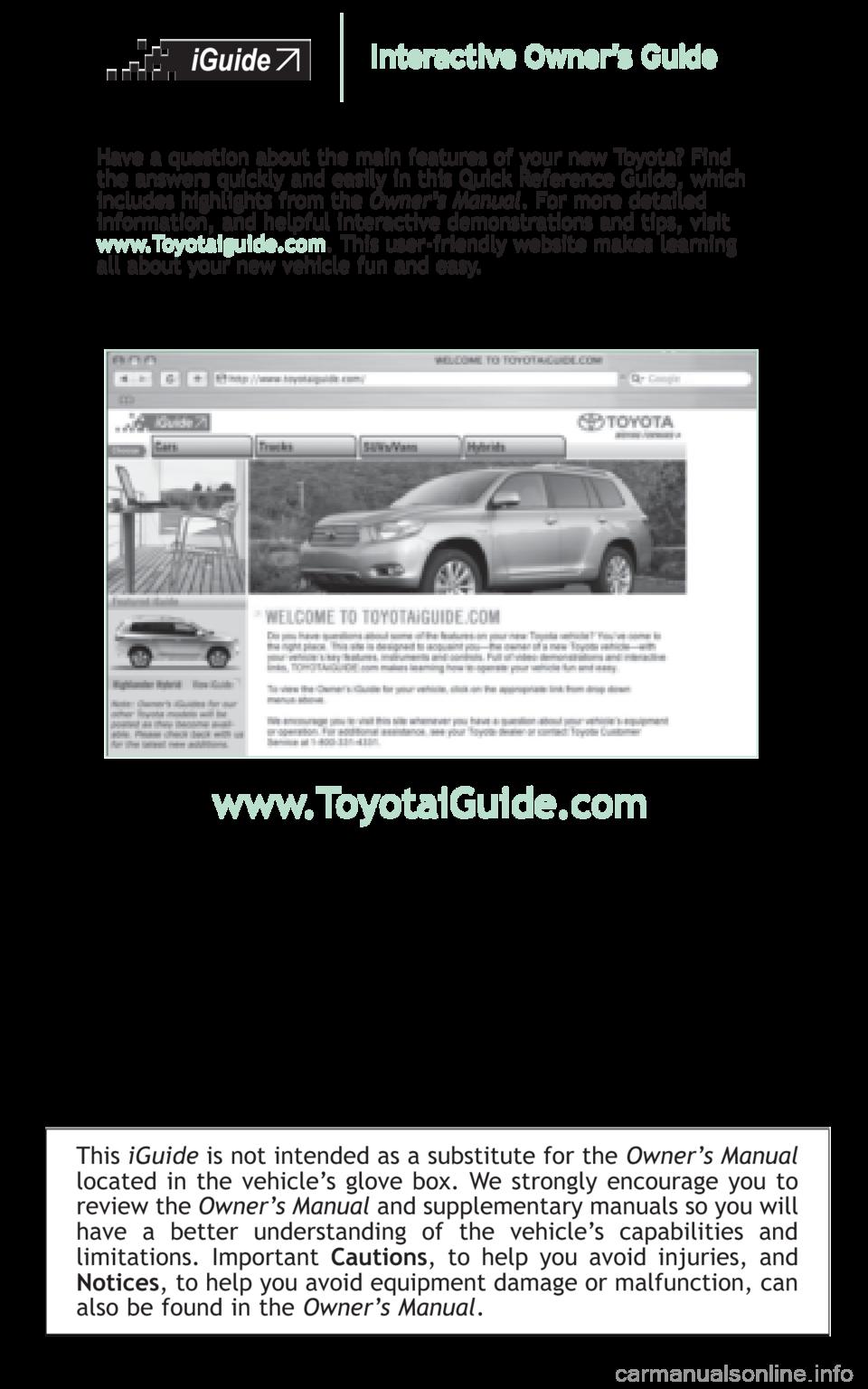 toyota highlander hybrid 2008 xu40   2 g quick reference guide 1999 Toyota Sienna Motor Manual 1999 Toyota Sienna Motor Manual