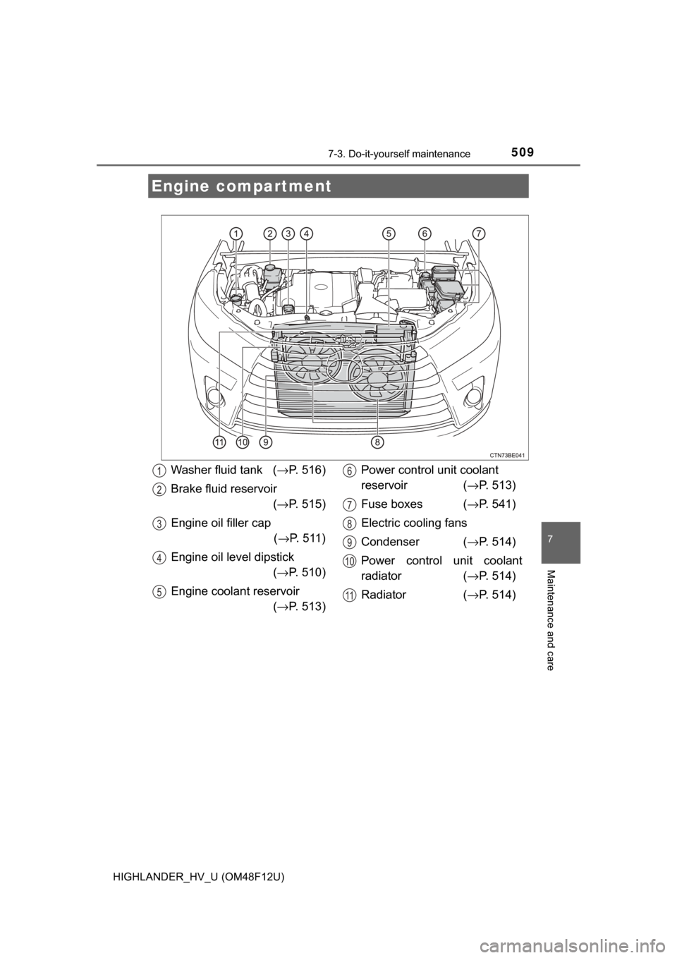 Oil Level Toyota Highlander Hybrid 2017 Xu50 3g Owners Manual Fuse Box Page 509