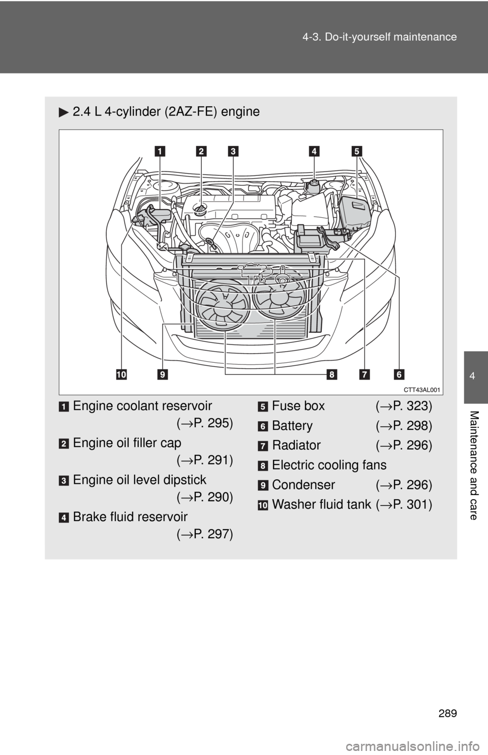 Brake Fluid Toyota Matrix 2009 E140 2g Owners Manual Fuse Box Page 289