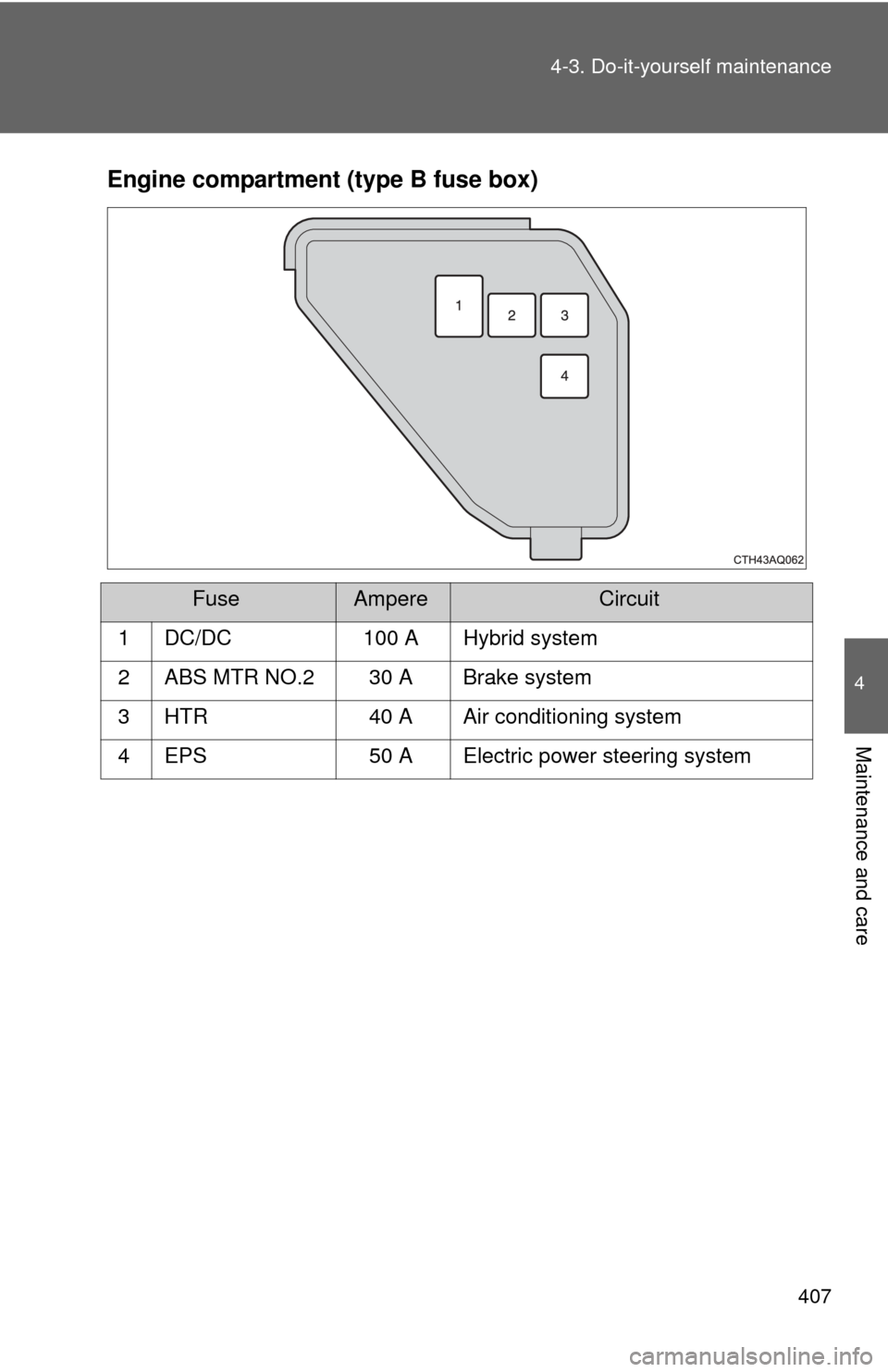 Toyota Prius C 2012 Nhp10 1g Owners Manual Fuse Box Page 407