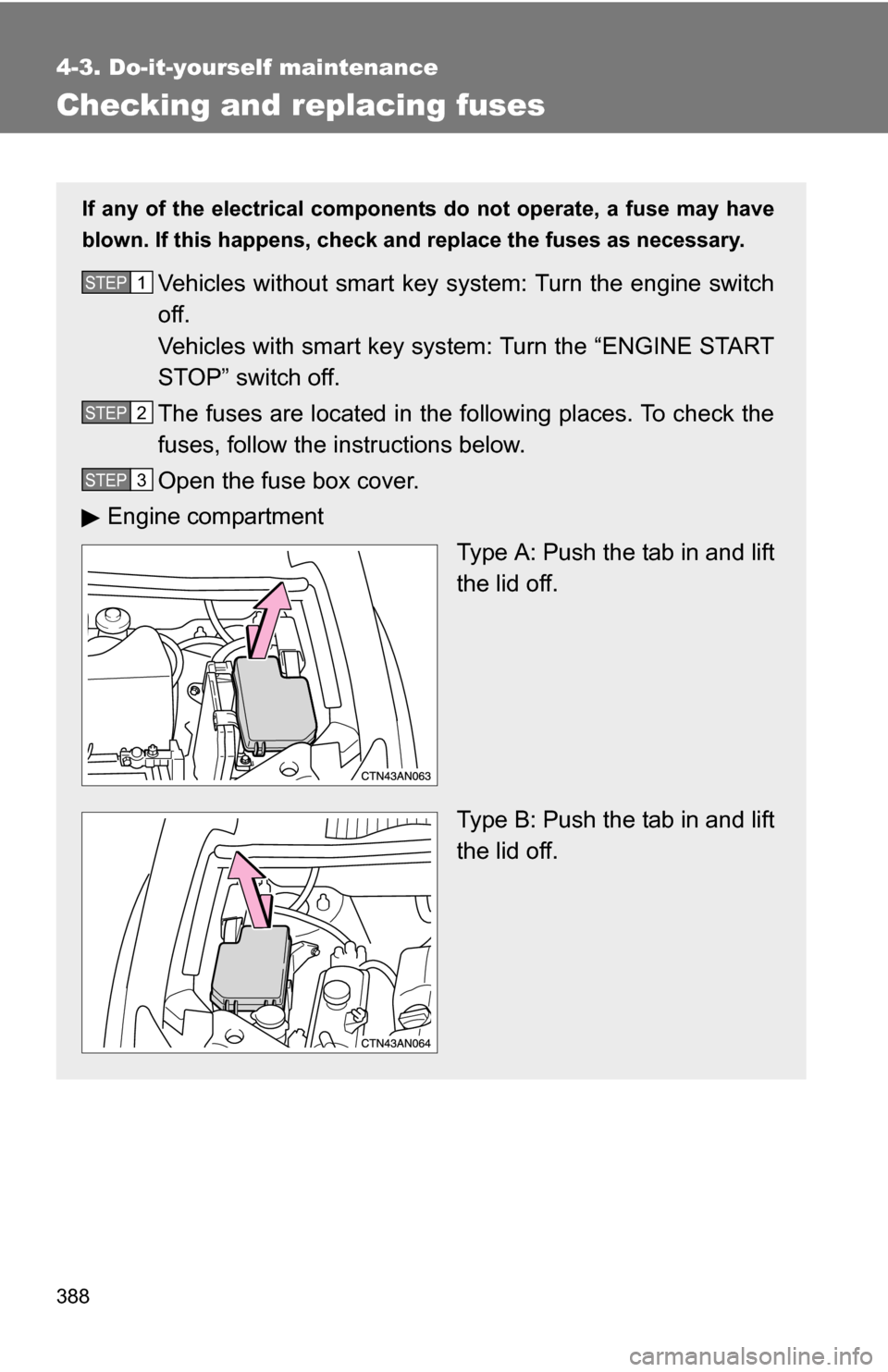 Fuses Toyota Rav4 2009 Xa30 3g Owners Manual Fuse Box Page 388