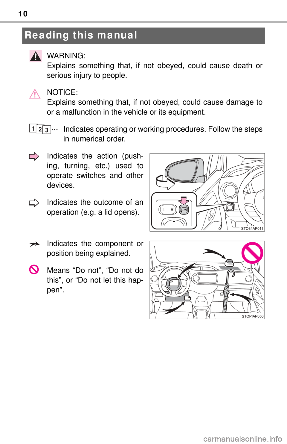 TOYOTA YARIS 2017 3.G Owners Manual 10 Reading this manual WARNING:  Explains something that, if not obeyed, could cause death or serious injury to people. NOTICE:  Explains something that, if not obeyed, could cause damage to or a malf