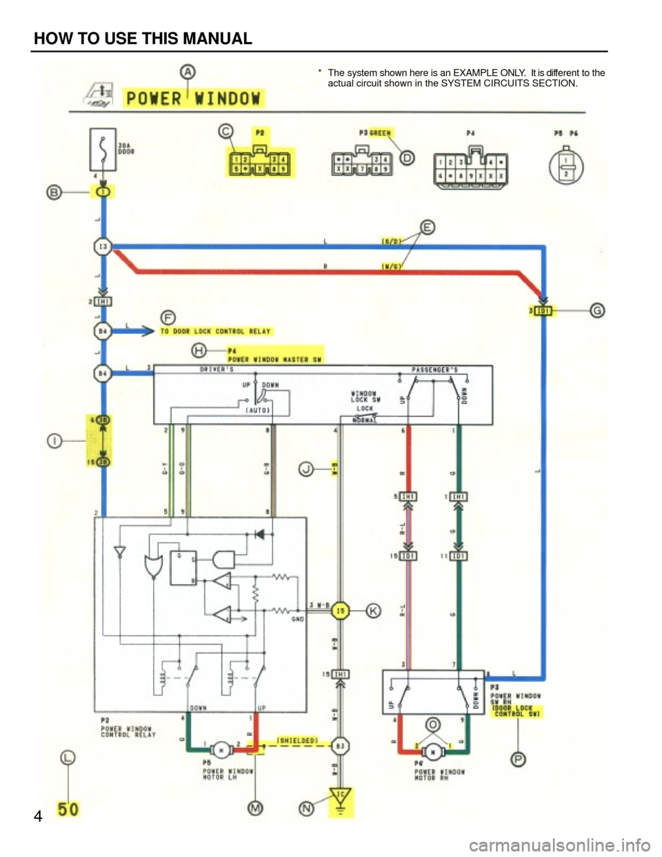 TOYOTA CAMRY 1994 XV10 / 4.G Wiring Diagrams Workshop Manual * The system shown here is an EXAMPLE ONLY.  It is different to the actual circuit shown in the SYSTEM CIRCUITS SECTION. 4 HOW TO USE THIS MANUAL