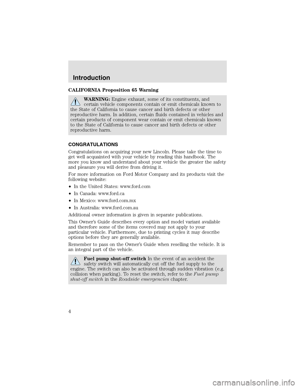 LINCOLN AVIATOR 2003  Owners Manual, Page 4