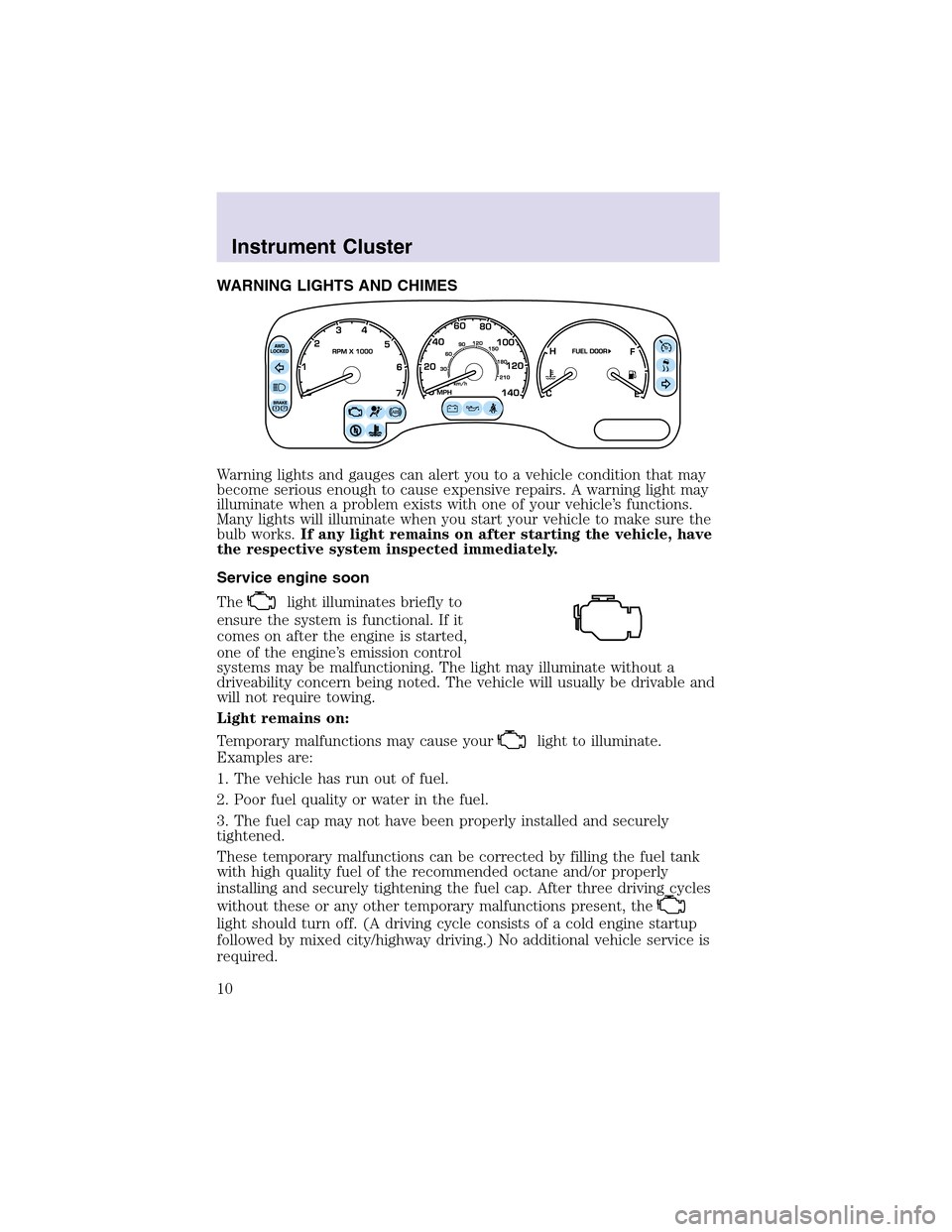 LINCOLN AVIATOR 2003  Owners Manual, Page 10