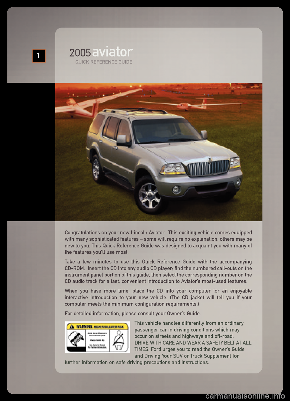 LINCOLN AVIATOR 2005  Quick Reference Guide, Page 7