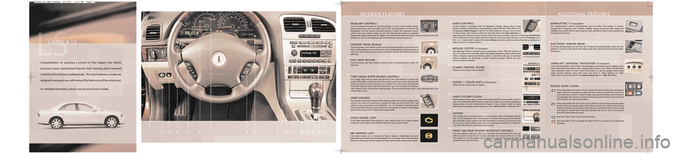 LINCOLN LS 2004  Quick Reference Guide, Page 2